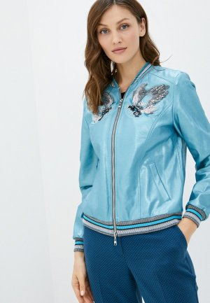 Куртка кожаная Alexander Bogdanov. Цвет: голубой