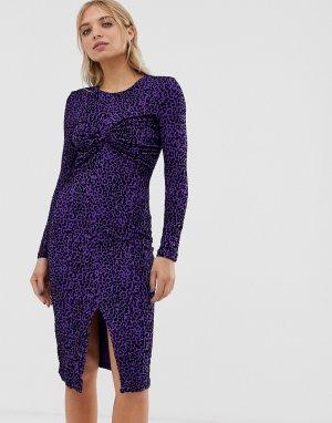 Платье миди с перекрученной драпировкой Moves By -Мульти Minimum