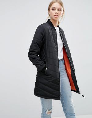 Удлиненная стеганая куртка‑пилот Brave Soul. Цвет: черный