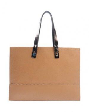 Большая кожаная сумка YUH by ORCIANI. Цвет: верблюжий