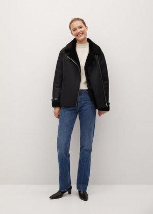 Байкерская куртка-дубленка - Dalsi Mango. Цвет: черный