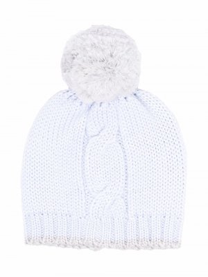 Cable-knit pompom hat La Stupenderia. Цвет: синий