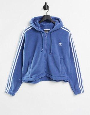 Голубой флисовый худи на молнии с тремя полосками adicolor adidas Originals