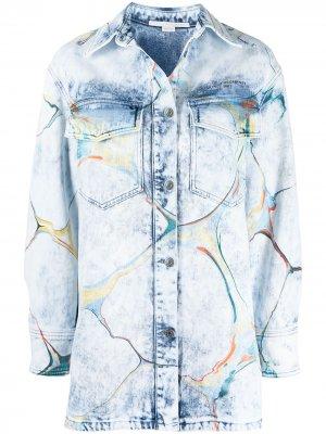 Джинсовая куртка-рубашка с принтом Stella McCartney. Цвет: синий