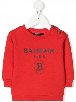 Толстовка с логотипом Balmain Kids. Цвет: красный