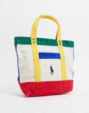 Разноцветная небольшая сумка-тоут с логотипом -Кремовый Polo Ralph Lauren