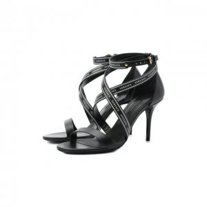 Кожаные босоножки Versace. Цвет: чёрный