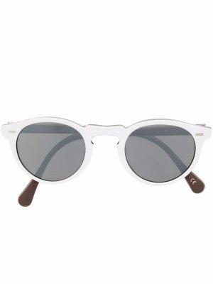 Солнцезащитные очки Gregory Peck в круглой оправе Oliver Peoples. Цвет: белый