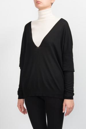 Черный пуловер с двойными рукавами Les Copains