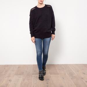 Пуловер из тонкого трикотажа с плетёными деталями LE TEMPS DES CERISES. Цвет: антрацит