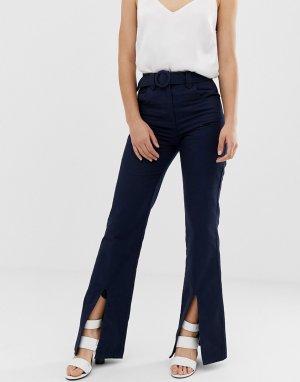 Расклешенные брюки с разрезами и поясом -Темно-синий ASOS DESIGN