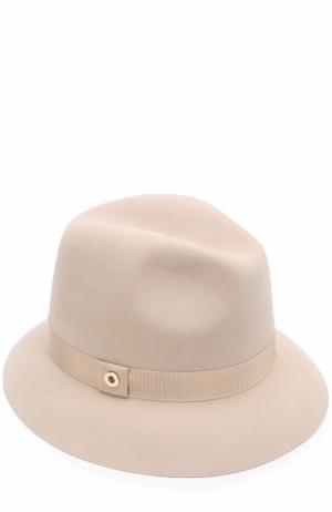 Фетровая шляпа Ingrid с лентой Loro Piana. Цвет: бежевый