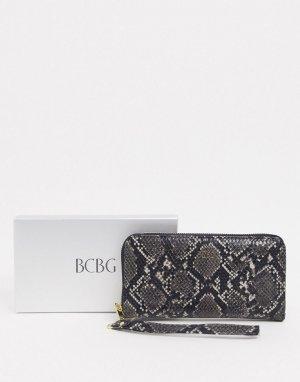 Кошелек со змеиным рисунком в подарочной упаковке -Черный BCBGeneration