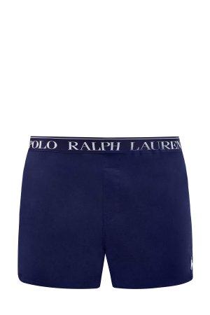 Трусы с вышитым логотипом из плотного хлопка POLO RALPH LAUREN. Цвет: синий