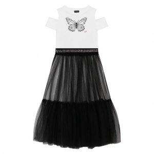 Комплект из платья и юбки Jakioo. Цвет: чёрно-белый