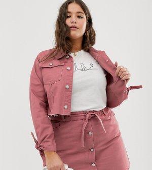 Укороченная джинсовая куртка с завязками на манжетах -Медный Urban Bliss Plus