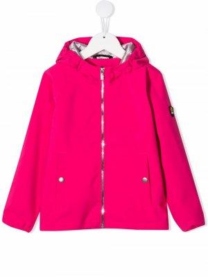 Дождевик с капюшоном и нашивкой-логотипом Ciesse Piumini Junior. Цвет: розовый