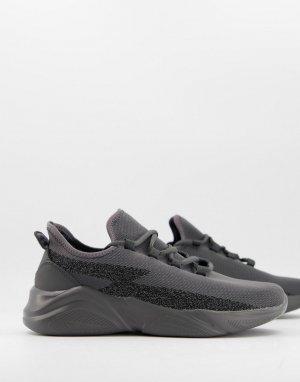 Серые кроссовки для бега с трикотажным верхом и светоотражающими вставками -Серый ASOS DESIGN