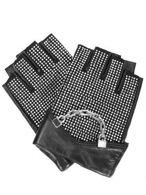 Перчатки-митенки кожаные KARL LAGERFELD