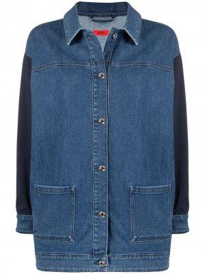 Джинсовая куртка с контрастными вставками HUGO. Цвет: синий