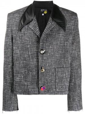 Укороченный твидовый пиджак DUOltd. Цвет: серый