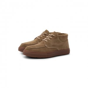 Замшевые ботинки INUIKII. Цвет: бежевый