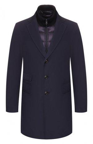 Пуховое пальто Moncler. Цвет: темно-синий