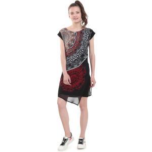 Платье короткое из джерси и вуали с рисунком DESIGUAL. Цвет: черный/ красный