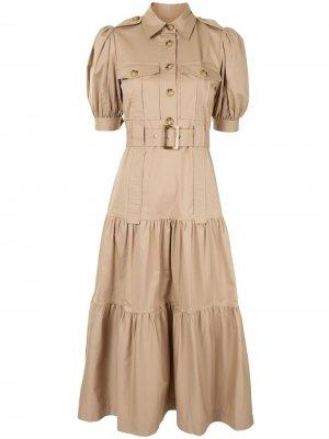 Ярусное платье миди Derek Lam 10 Crosby. Цвет: коричневый