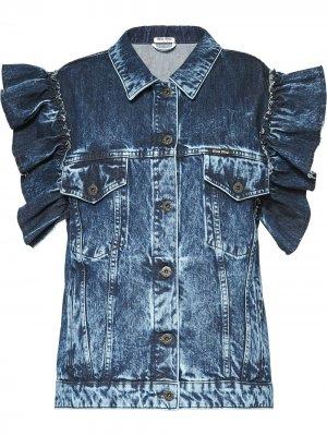 Джинсовая куртка с оборками Miu. Цвет: синий