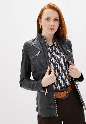 Куртка кожаная La Reine Blanche. Цвет: синий