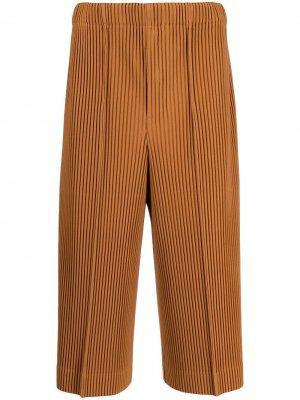 Укороченные плиссированные брюки Homme Plissé Issey Miyake. Цвет: коричневый