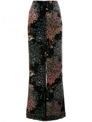 Velvet floral-print trousers Alberta Ferretti