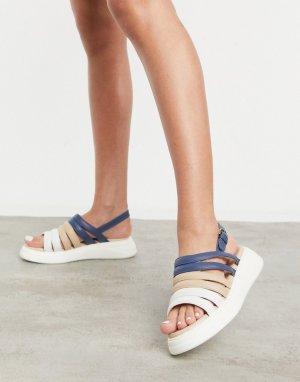 Разноцветные замшевые массивные сандалии с открытой пяткой silvia-Многоцветный Fiorelli