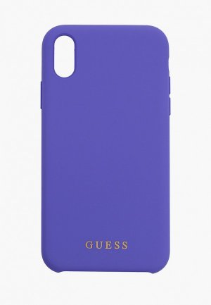 Чехол для iPhone Guess XR, Silicone collection Gold logo Purple. Цвет: фиолетовый
