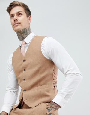 Приталенный жилет с добавлением шерсти -Коричневый Gianni Feraud