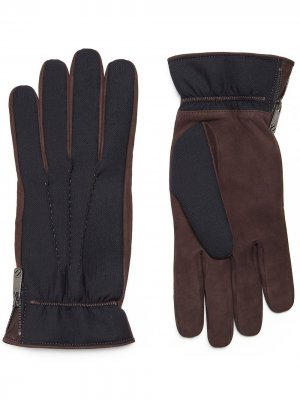 Перчатки с контрастными вставками Ermenegildo Zegna. Цвет: синий