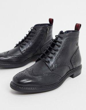 Черные кожаные ботинки-броги -Черный Base London