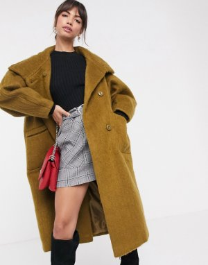 Пальто с большим воротником -Зеленый ASOS DESIGN
