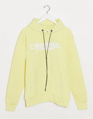 Худи лимонного цвета с логотипом -Желтый Criminal Damage