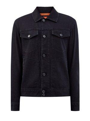 Джинсовая куртка ручной работы с объемной прострочкой CORTIGIANI. Цвет: черный