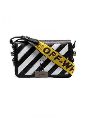 Мини-сумка через плечо с диагональными полосками Off-White. Цвет: черный