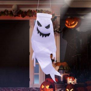 1шт Фен в форме призрака на хэллоуин SHEIN. Цвет: черный и белый