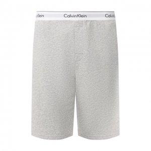 Хлопковые домашние шорты с широкой резинкой Calvin Klein. Цвет: серый