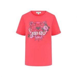Хлопковая футболка Kenzo. Цвет: розовый