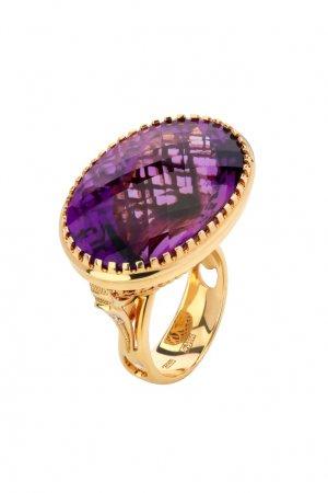 Золотой перстень с бриллиантами и аметистом Кремлевские Мастера. Цвет: фиолетовый