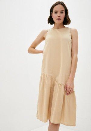 Платье Pieces. Цвет: бежевый