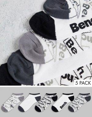 Набор из 5 пар спортивных носков белого цвета Curran-Белый Bench