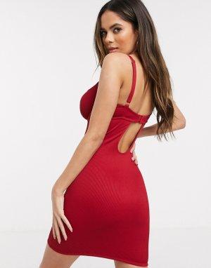 Моделирующее платье с чашечками на косточках для груди большого размера -Красный ASOS DESIGN