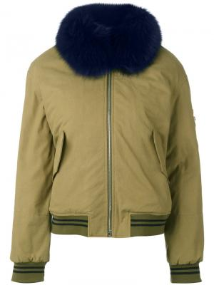 Куртка бомбер Army Yves Salomon. Цвет: зелёный